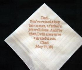 Personalized Wedding Gift-Wedding handkerchief from Groom to his Father 13B