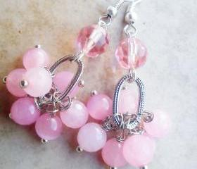 Pink bead wire wrap earrings