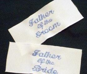 Set of 2 men's wedding tie labels.