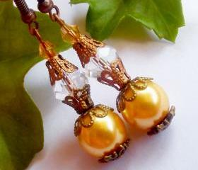 BUY 4 - GET 1 pair earrings FREE..Lovely bronze pearl crystal boho earrings- fall,winter colection