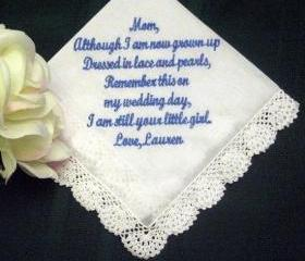 Personalized Wedding Gift -Wedding Handkerchief for Mother of the Bride with Gift Box 11S