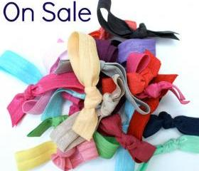 15 Elastic Hair Tie Sale Grab Bag - Ribbon Hair Ties Gift Set - Fabric Bracelet - Emi Jay Inspired Hair Bands