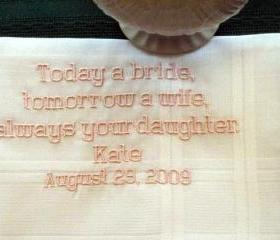 Personalized Wedding Gift - Wedding handkerchief for Father of the Bride style with Gift Box 62B