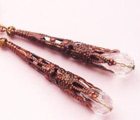 BUY 4 - GET 1 pair earrings FREE..Dangle antique copper cone filigree crystal drop vintage look earrings- affordable gift