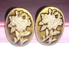 Cameo flower cabochon post stud boho earrings
