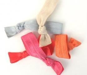 Kids Hair Ties (5) - Emi Jay Inspired Elastic Hair Ties (5) - Fabric Hair Bands - No Tangle Hair Ties - Ribbon Ponytails