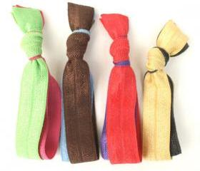 Double Hair Elastics (4) - Hair Tie Bracelets - Emi Jay Inspired Ribbon Hair Bands - Knotted Hair Ties - Stretchy Ponytail