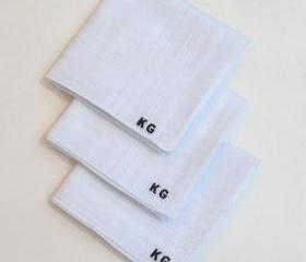 Monogrammed embroidered mens hankies with Gift Box