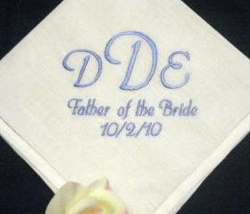 Mens Monogrammed Linen Wedding Handkerchief