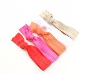 Preppy Ribbon Hair Bands (5) - No Tug Hair Ties - Bright Fold Over Elastic Hair Bands, Bracelets - Emi Jay Inspired Hair Ties