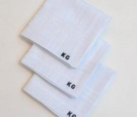 Monogrammed embroidered mens hankies