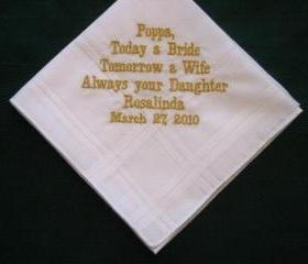 Personalized Wedding Gift - Wedding handkerchiefs for Papa with gold thread.with Gift Box 63B