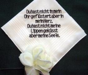 Personalized Wedding Gift Wedding Handkerchief 132B from Bride to Groom in German with free gift box.