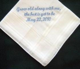 Personalized Wedding Gift - Wedding Handkerchief from Bride to Groom with Gift Box 37S