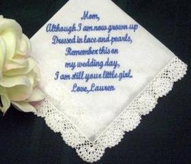 Wedding Hanky for Mother of the Bride 107S