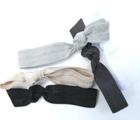 Hair Tie Set (5) - Yoga Hair Tie Ponytail - Elastic Hair Tie Fabric Bracelet - Hair Band - Emi Jay & Anthropologie Inspired Hair Ties