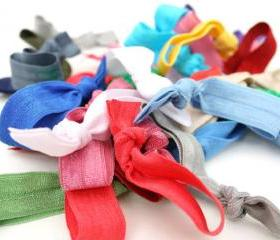 Ribbon Hair Tie Grab Bag (10) - Elastic No Tug Hair Ties - Knotted Hair Tie, Bracelet - Emi Jay Inspired Hair Bands, Ponytail Elastics