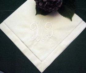 Hemstitched Linen Dinner Napkin Set of 12