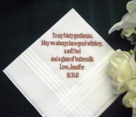 Personalized Wedding Gift - Wedding Handkerchief from Bride to Groom with Gift Box 3B