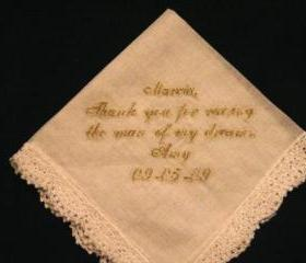 Wedding Hanky with Gold Metalic Thread style number 2