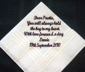 From Bride to Groom Wdding Hankie