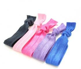 No Dent Hair Ties (5) - Yoga Hair Tie Ponytail - Elastic Ribbon Hair Ties - Emi Jay Like Knotted Fabric Hair Ties - Teen Hair Accessories