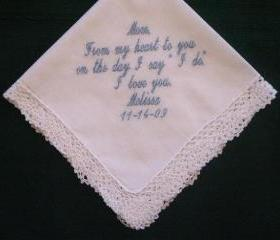 Wedding hanky for mother of the bride with Gift Box 58S
