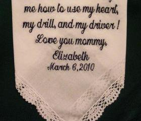 Personalized Wedding Gift - Wedding Handkerchief for Mother of the Bride with Gift Box 23S