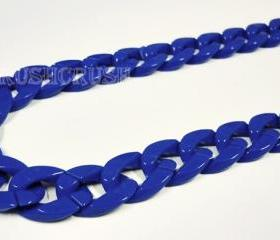 Blue Navy CHUNKY Chain Plastic Link Necklace Craft DIY 30 inch A48