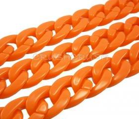 Hot Orange CHUNKY Chain Plastic Link Necklace Craft DIY 30 inch A62