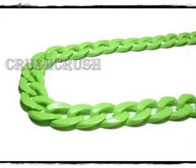 Green Apple CHUNKY CHAIN Plastic Link Necklace Craft Connector 30 inch A75
