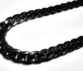GRADE A -- BLACK Chunky Chain Plastic Link Necklace Craft 30 inch A42