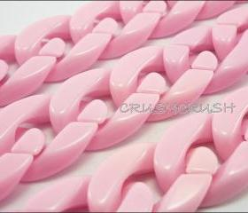 GRADE - A -- Sweet Baby Pink CHUNKY Chain Plastic Link Necklace Craft 30 inch A68