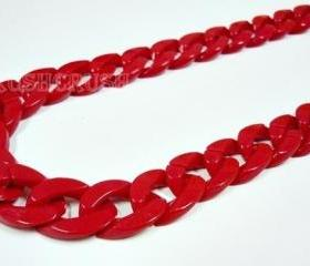 Red CHUNKY Chains Plastic Link Necklace Craft DIY 30 inch A38