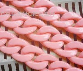 Light Rose Chunky Chain Plastic Link Necklace Craft DIY 30 inches A64