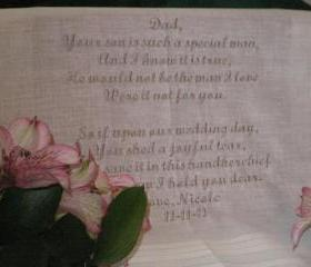 Wedding Handkerchief - Bride to Father of the Groom 111S