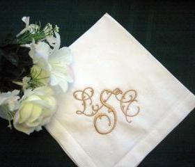 Personalized Napkins -Hemstitched Linen Dinner Napkins Set of 12