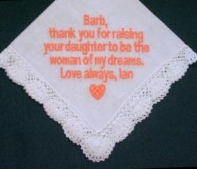 Personalized Wedding Gift - Wedding handkerchief for Mother of the Bride with Gift Box 88B