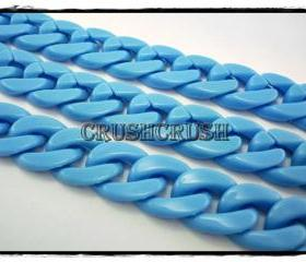 Blue CHUNKY Chain Plastic Link Necklace Craft DIY 30 inch A74