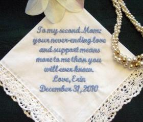 Wedding hanky for stepmother ot other special someone 114S