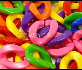 50pcs Acrylic Chunky Link Chains Mixed Colors Kitsch Party Funky X15