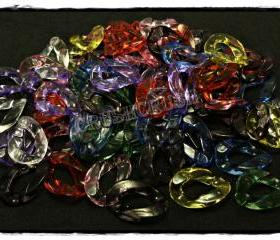 50pcs Acrylic Translucent Chunky Link Chains Mixed Colors Kitsch Party Funky X64