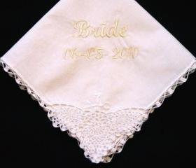Personalized Wedding Gift - Wedding Handkerchief with Lace Corner for the Bride with Gift Box 70SL