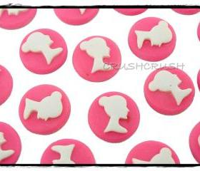20pcs Resin Shocking Pink Ballerina Bun Ballet Girl Cameo Cabochons Flat back F355
