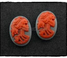 10pcs 13x18mm Red Lolita Skull Skeleton Cameos FLAT BACK Cabochons F453
