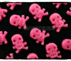 20pcs Hot Pink Girly Skull Crossbone Halloween Flat Back Cabochon F525