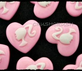 15pcs Resin Barbie Girl Ponytail Cabochons Flat back Heart Shape F348