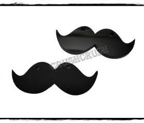 4pcs Acrylic Black Mustache Pendants CHARMS PND-380