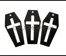 5pcs Black CROSS COFFIN Acrylic Pendants Charms Halloween Vampire PND-387