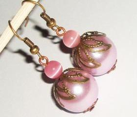 BUY 4 - GET 1 pair earrings FREE..Pink glass pearl filigree cat eye bead vintage look antique cute affordable earrings
